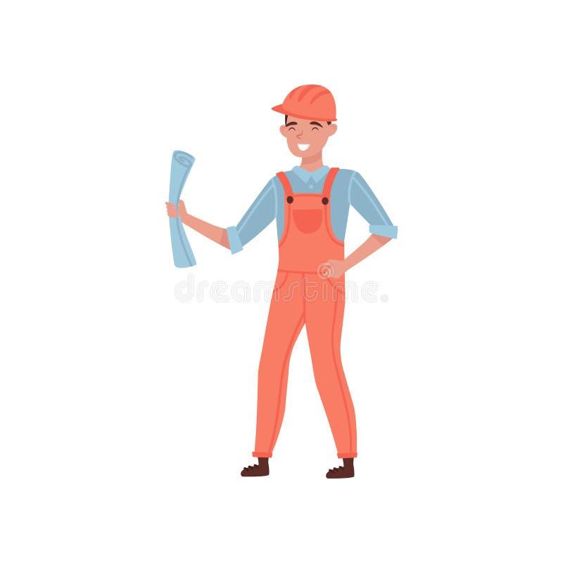 Coordenador de construção profissional que mantém o modelo disponivel Homem novo no capacete total e protetor alaranjado liso ilustração royalty free