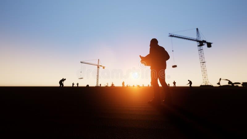 Coordenador e trabalhadores da construção e silhueta ilustração stock