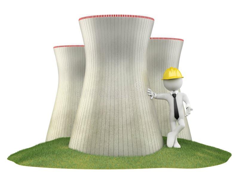 Coordenador em um central nuclear ilustração royalty free