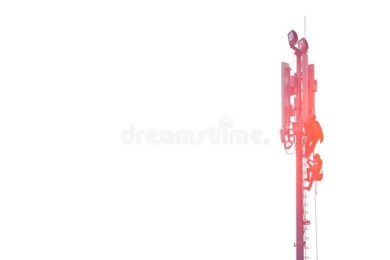 Coordenador na torre de comunicação no fundo branco imagem de stock