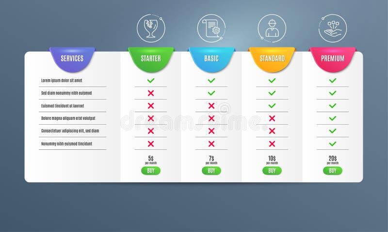 Coordenador, pacote frágil e grupo técnico dos ícones da documentação Sinal da consolidação Vetor ilustração stock