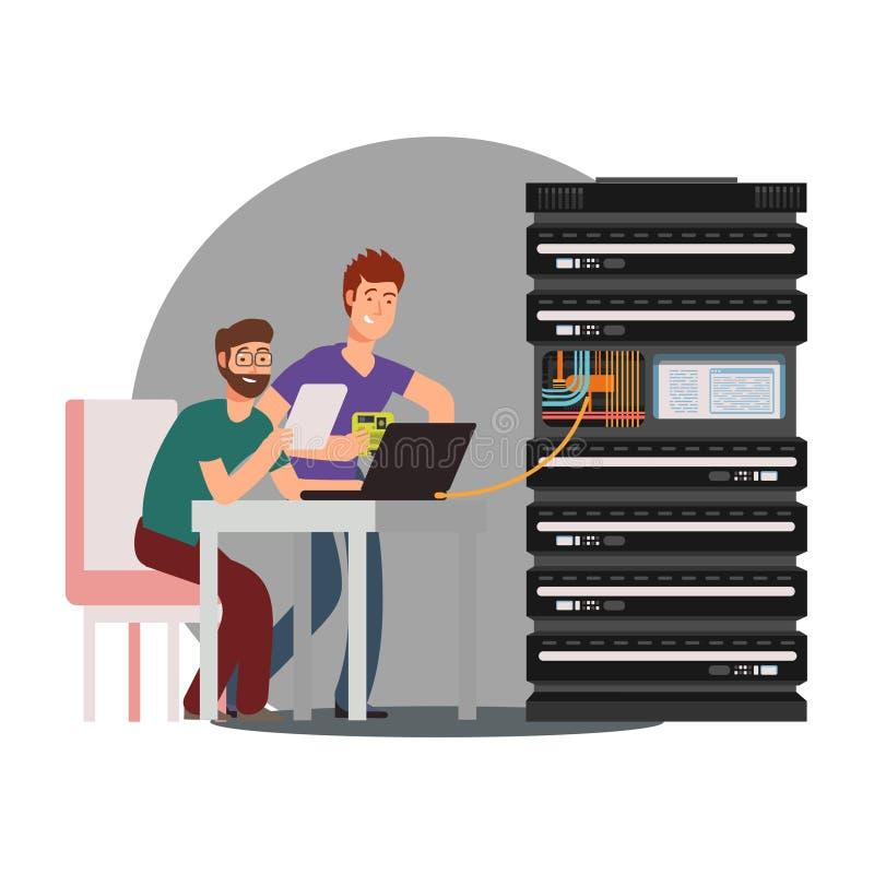 Coordenadores de computador dos desenhos animados que trabalham com servidor ilustração royalty free