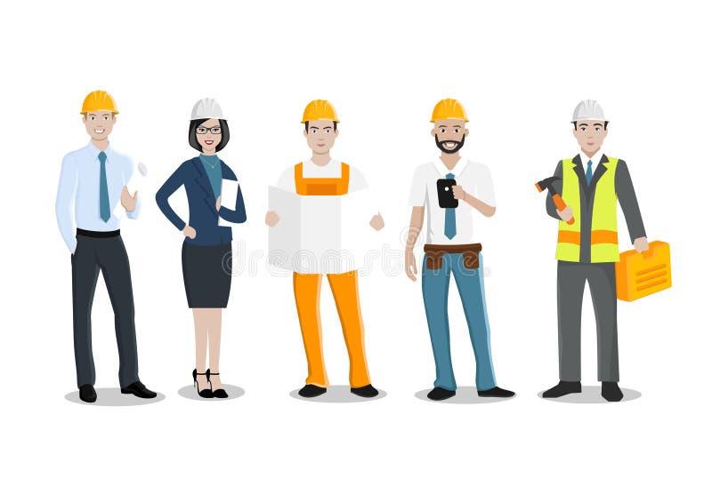 Coordenadores e mecânicos e trabalhador da construção ilustração stock