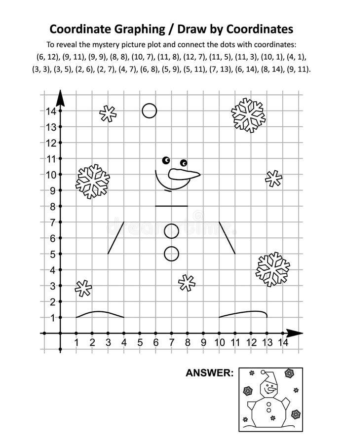 Coordenar gráficos ou desenhar por coordenadas, planilha de matemática com boneco de neve ilustração stock