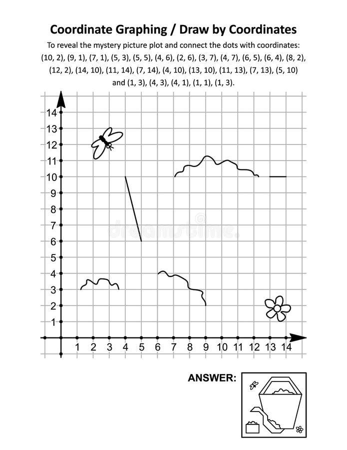 Coordenar o gráfico, ou desenhar por coordenadas, folha de cálculo de matemática com balde e pá para praia ilustração royalty free
