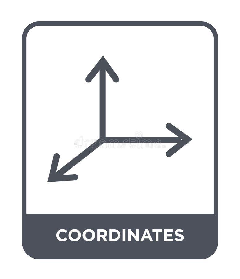 coordina el icono en estilo de moda del diseño icono de los coordenadas aislado en el fondo blanco icono del vector de los coorde ilustración del vector