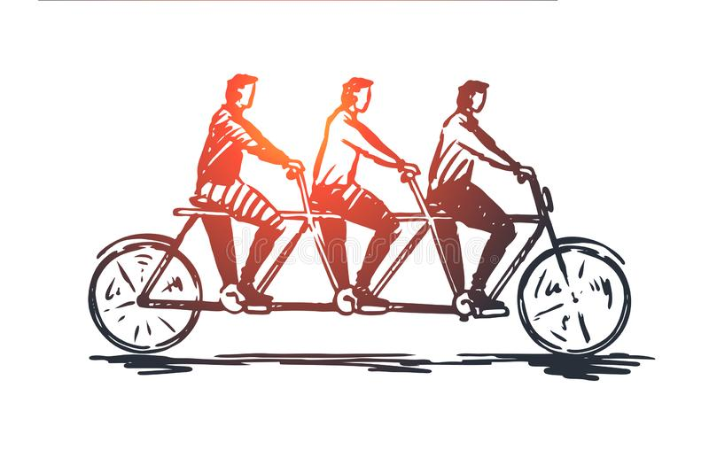 Coordinate, cooperation, teamwork, bike, tandem concept. Hand drawn isolated vector. Coordinate, cooperation, teamwork, bike, tandem concept. Hand drawn three stock illustration