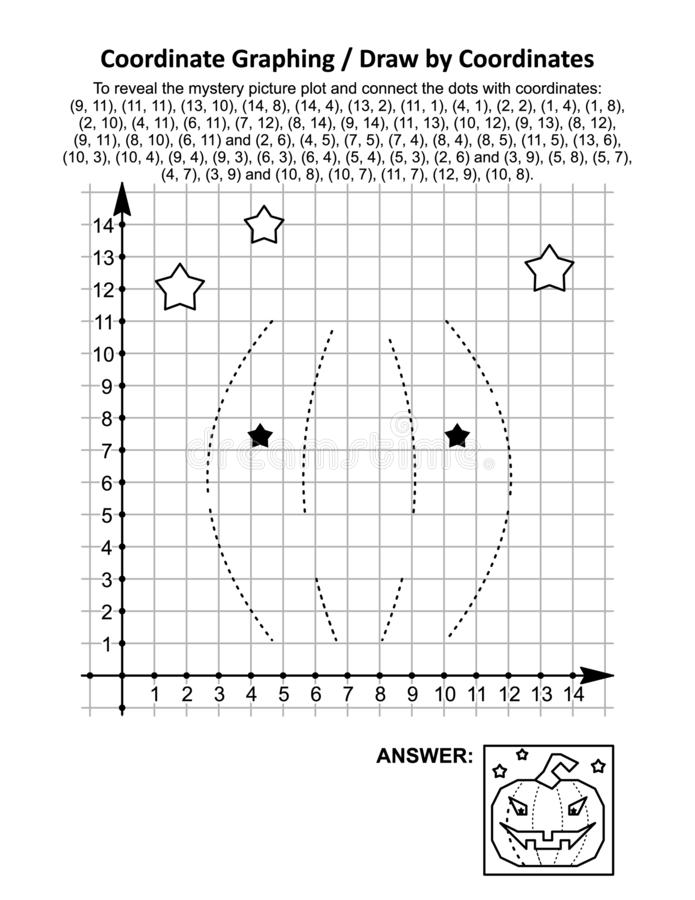 Coordinate graphing, or draw by coordinates, math worksheet with Halloween pumpkin. To reveal the mystery picture plot and connect the dots with given stock illustration