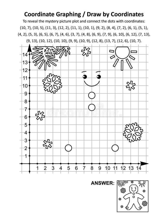 Free Coordinate Graphing, Or Draw By Coordinates, Math Worksheet With Christmas Gingerbread Man Stock Photography - 160963692