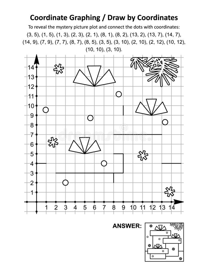 Free Coordinate Graphing, Or Draw By Coordinates, Math Worksheet With Gift Boxes Royalty Free Stock Images - 160963589