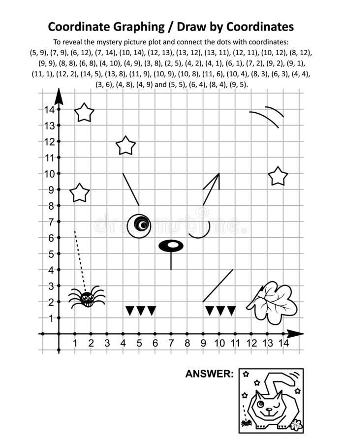 Free Coordinate Graphing, Or Draw By Coordinates, Math Worksheet With Halloween Cat, Lying In Wait For Prey Stock Image - 161338121