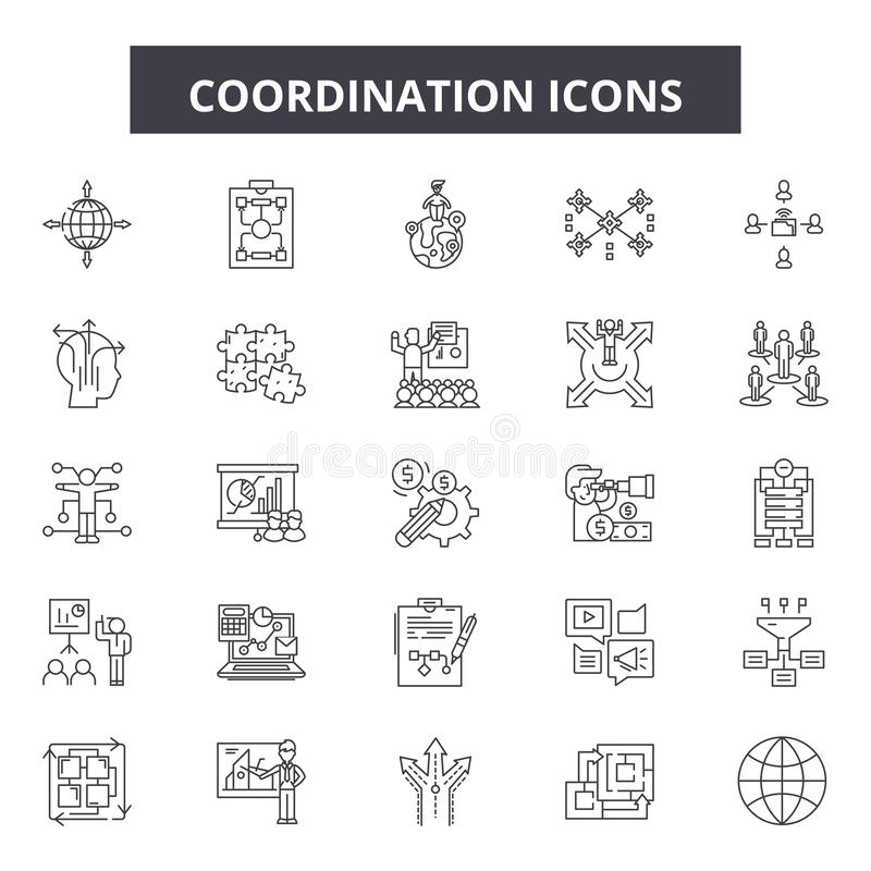 Coordination line icons, signs, vector set, outline illustration concept vector illustration