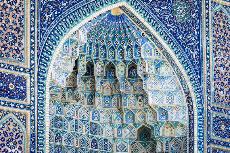 Coordonnée de Gur-E Amir Mausoleum, la tombe du conquérant asiatique photo stock