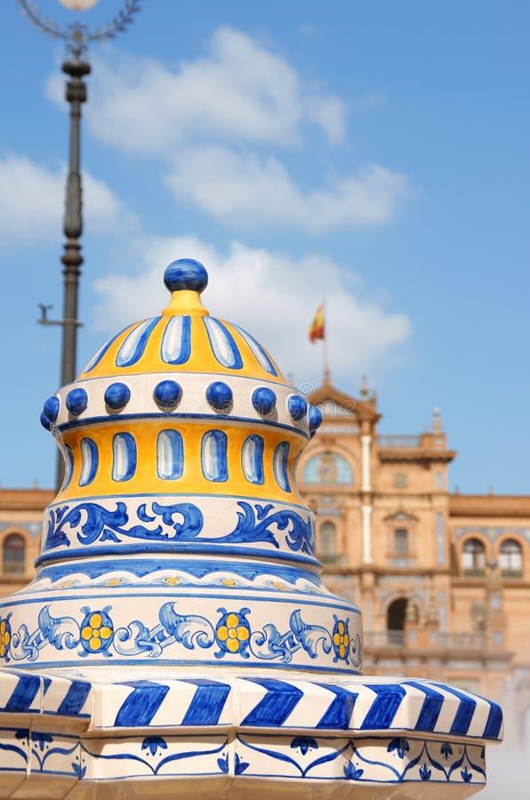 Coordonnée de Plaza de Espana en Séville photographie stock