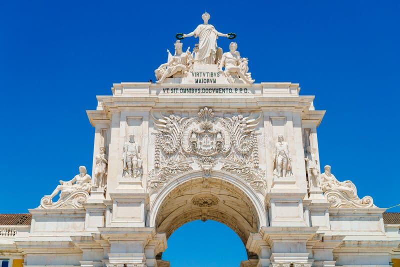 Coordonnées architecturales de Rua Augusta Arch In Lisbon City du Portugal photographie stock libre de droits