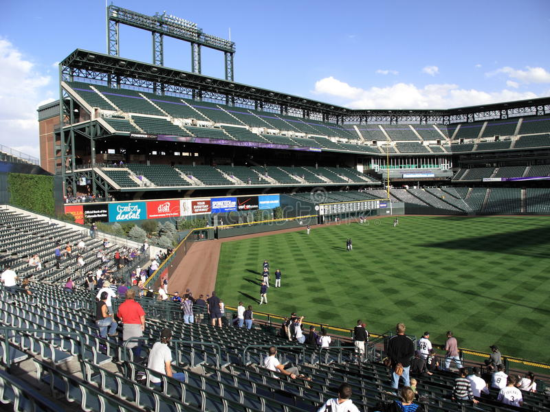 Coors Field - Colorado Rockies. Fans watch batting practice at Coors Field, home of Colorado Rockies, located in downtown Denver stock photography