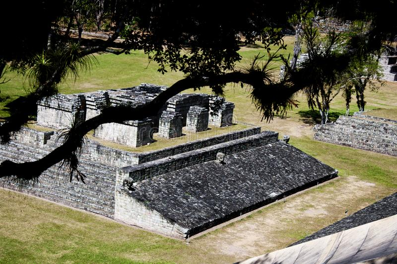 Copán Ball Court. Beautiful view of the Ball Court of Copán, Honduras, taken from above, atop the Acropolis. This is probably the most photographed view of stock image