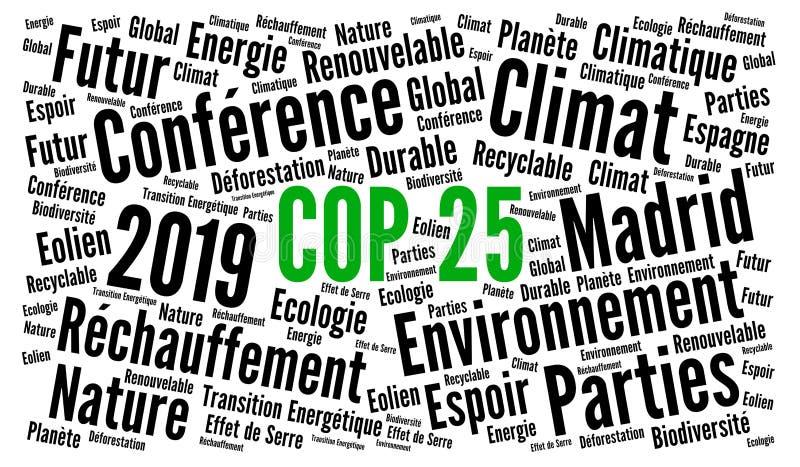 COP 25 à Madrid, Espagne Nuage de mots 2019 en français illustration libre de droits