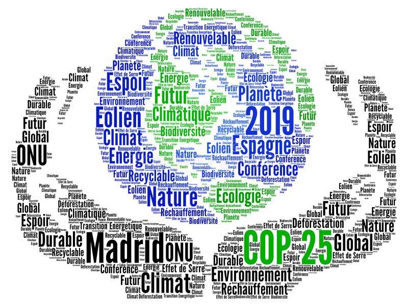 COP 25 à Madrid, Espagne Nuage de mots 2019 en français illustration stock