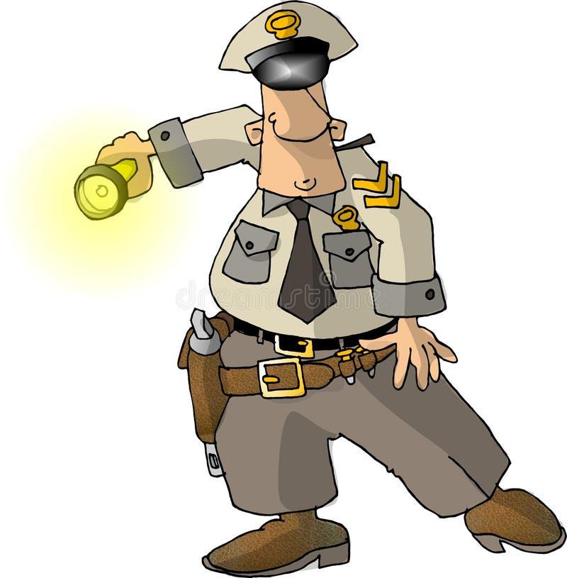 Cop avec une lampe-torche illustration de vecteur