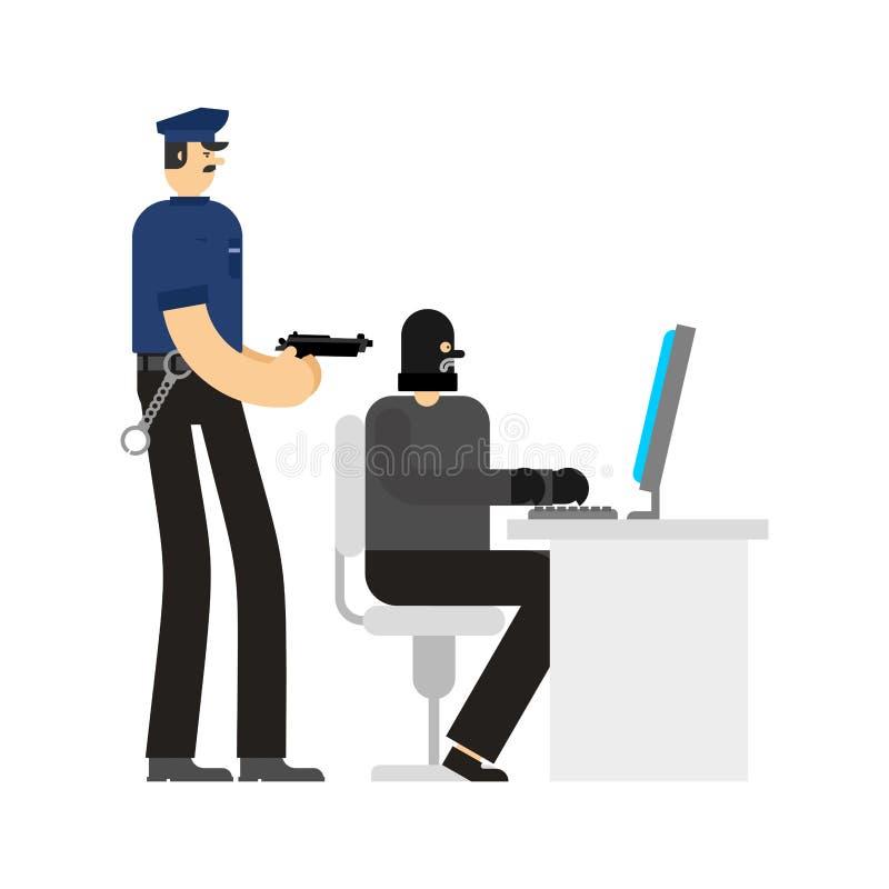 Cop en Hakker de Opsluiting van de werkenpc Politieagent en Rover Internet royalty-vrije illustratie