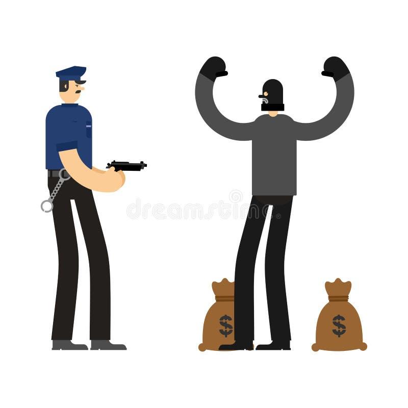 Cop en Roversopsluiting Politieagent en inbrekerarrestatieambtenaar royalty-vrije illustratie