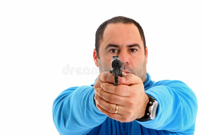 Download Cop with Pistol stock image. Image of muscle, macho, pistol - 13551297