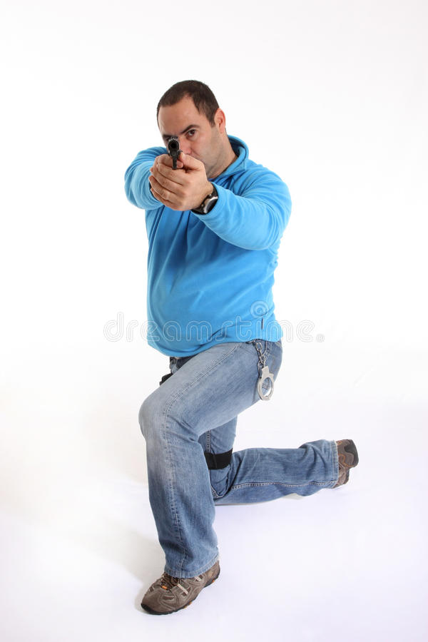 Download Cop with Pistol stock photo. Image of handsome, enforcer - 13551320