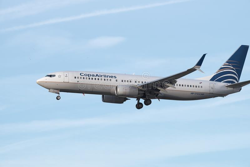 COPA Airlines Boeing 737. COPA jet approaching the Los Angeles International airport for landing. COPA is the flag carrier airline of Panama royalty free stock image
