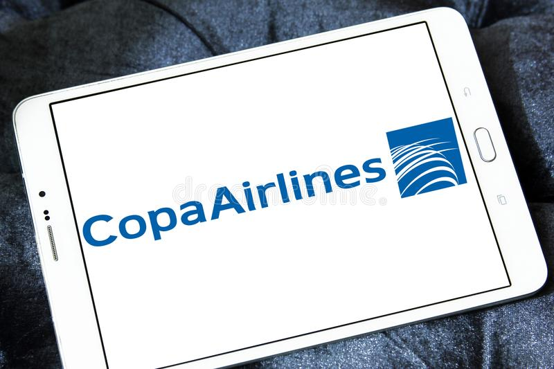 Copa Airlines logo. Logo of Copa Airlines on samsung tablet. Copa Airlines is the flag carrier of Panama royalty free stock photography
