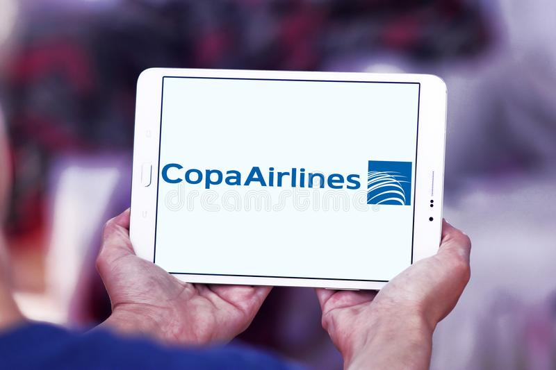 Copa Airlines logo. Logo of Copa Airlines on samsung tablet. Copa Airlines is the flag carrier of Panama stock images