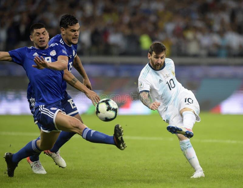Copa America. Argentina v Paraguay  Copa America, Football, Mineirão Stadium, BELO Horizonte  Brazil - 19 Jun 2019..Lionel Messi , Argentina and Paraguay royalty free stock photos