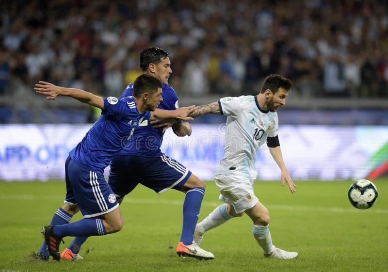 Copa America. Argentina v Paraguay, Copa America Group B football match, Belo Horizonte, Brazil - 19 Jun 2019. Lionel Messi royalty free stock photos