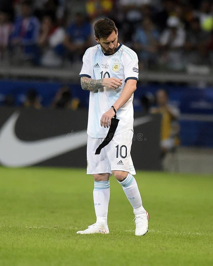 Copa America. Argentina v Paraguay, Copa America Group B football match, Belo Horizonte, Brazil - 19 Jun 2019..Lionel Messi ARG royalty free stock photo