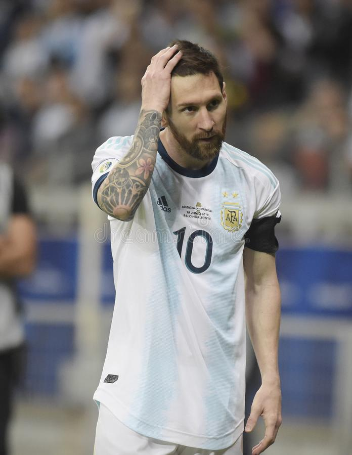 Copa America. BELO HORIZONTE, BRAZIL - June 19, 2019: Lionel Messi of Argentina kicks the ball during the 2019 Copa America Group B game between Argentina and stock photo