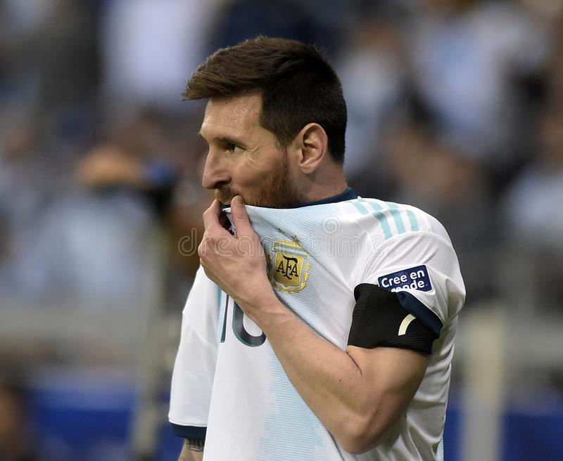 Copa America. BELO HORIZONTE, BRAZIL - June 19, 2019: Lionel Messi of Argentina kicks the ball during the 2019 Copa America Group B game between Argentina and stock image