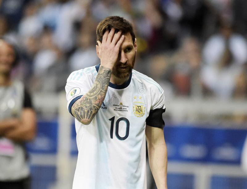 Copa America. BELO HORIZONTE, BRAZIL - June 19, 2019: Lionel Messi of Argentina kicks the ball during the 2019 Copa America Group B game between Argentina and royalty free stock image