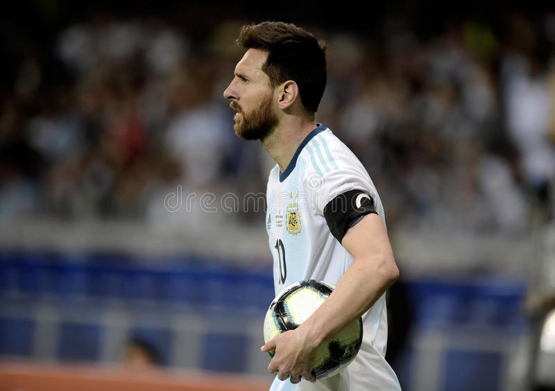 Copa America. BELO HORIZONTE, BRAZIL - June 19, 2019: Lionel Messi of Argentina kicks the ball during the 2019 Copa America Group B game between Argentina and royalty free stock photos