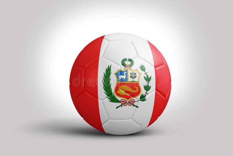Peruvian flag on ball, 3d rendering. Soccer ball in 3d illustration. vector illustration