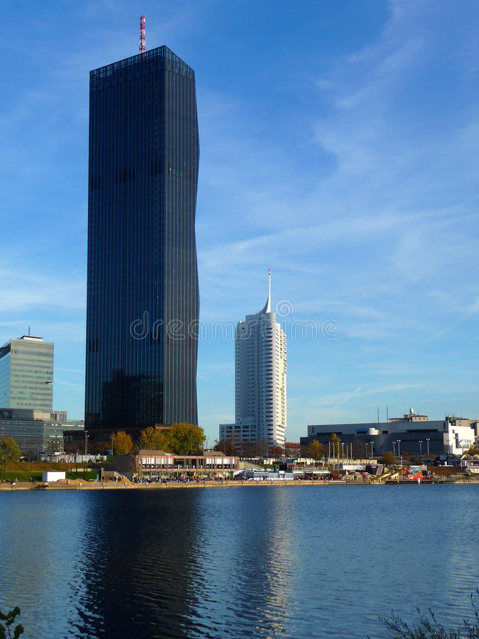 Copa Cagrana. There is the Copa Cagrana with the DC Tower in Vienna royalty free stock image