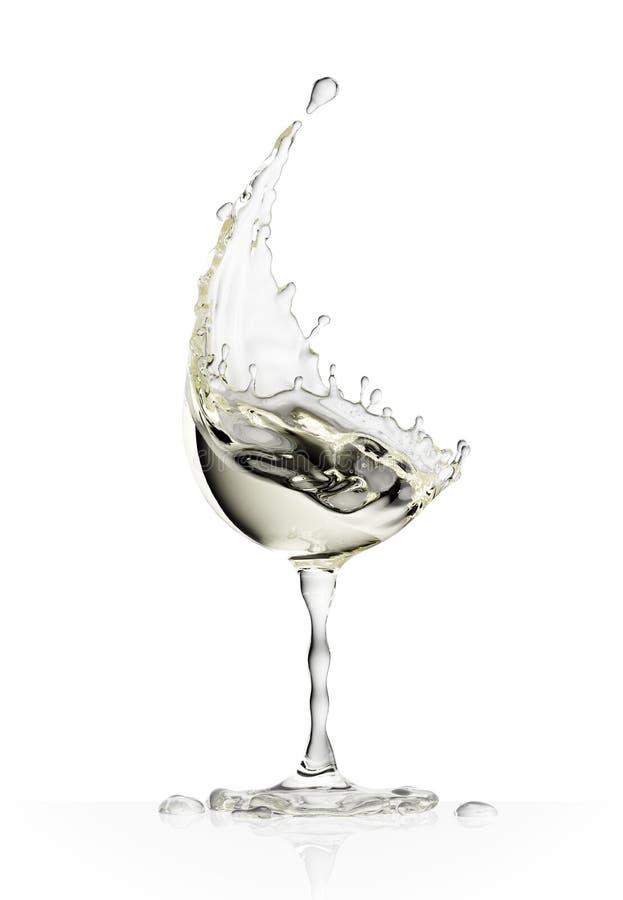 Copa de vino blanca en un fondo blanco imagen de archivo