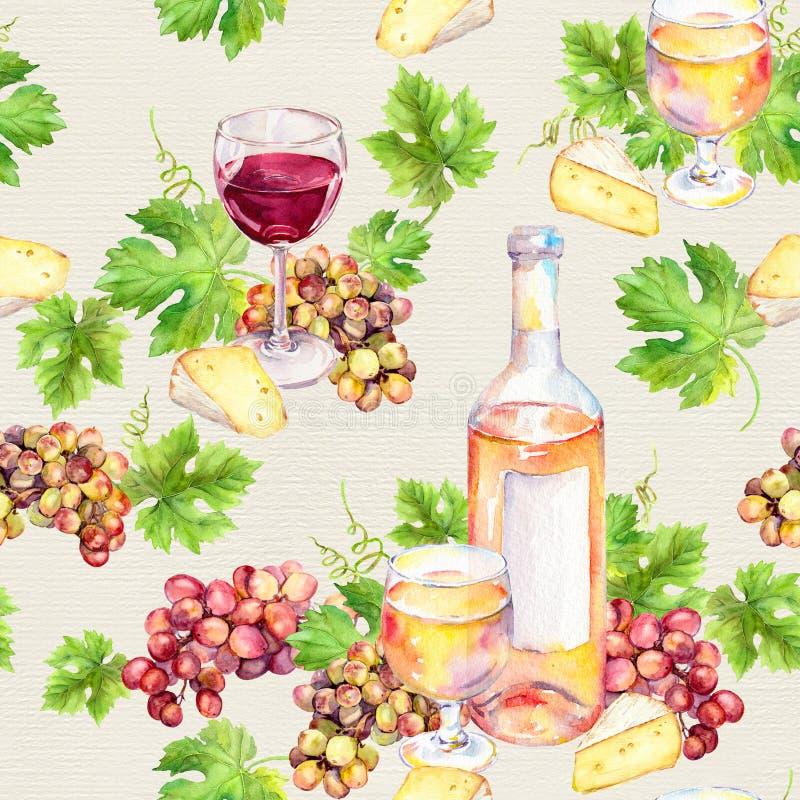 Copa de vino, botella, queso, hojas, uva Fondo inconsútil watercolor foto de archivo