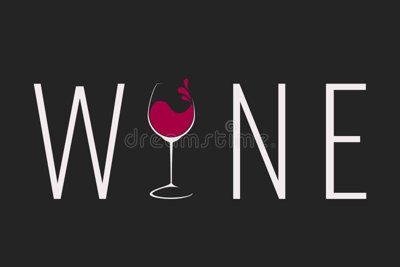 Copa de vino con diseño del logotipo del chapoteo ilustración del vector