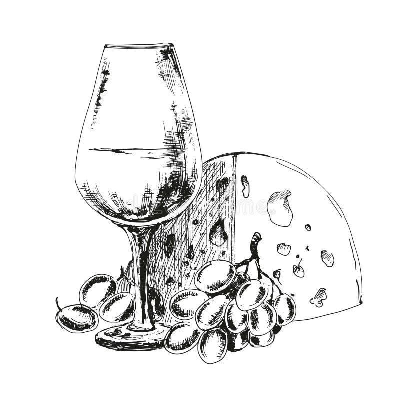 Copa de vino con queso y uvas stock de ilustración