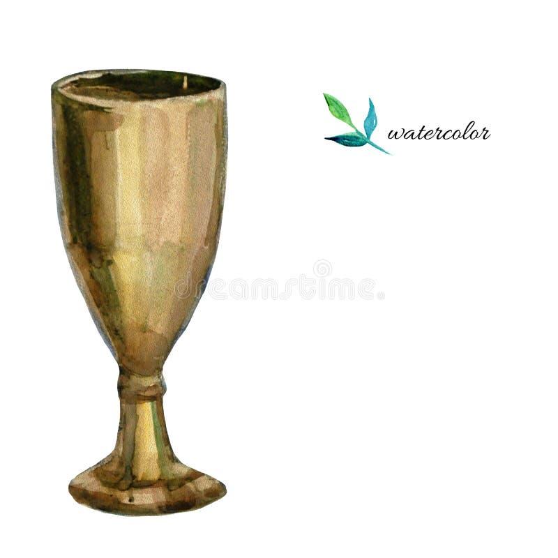 Copa de vino de la acuarela en el fondo blanco libre illustration