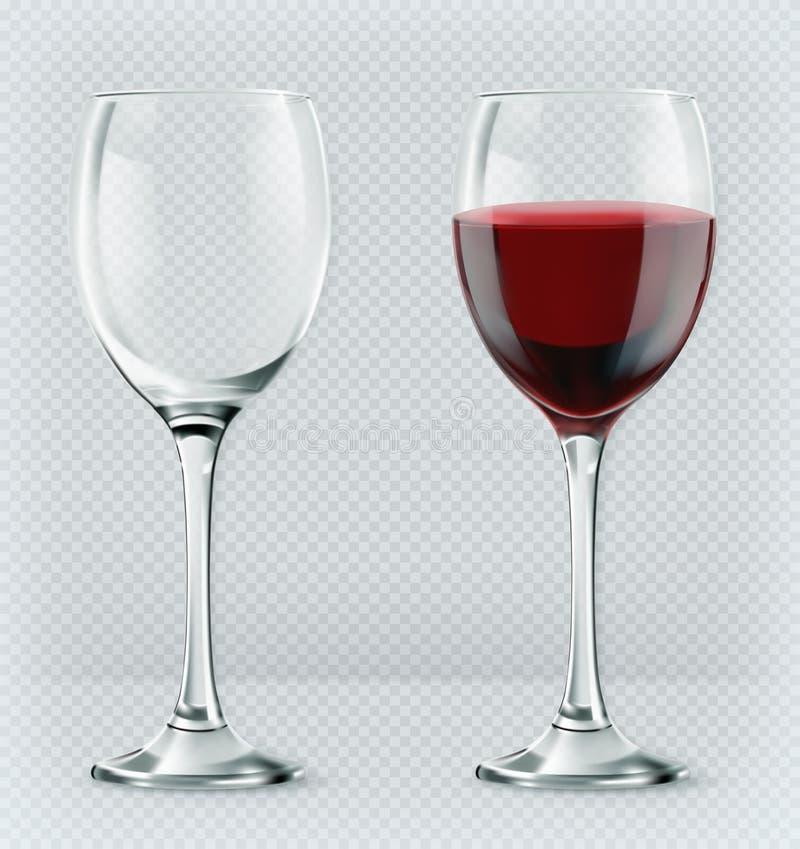 Copa de vino de la transparencia Vacío y por completo icono del vector 3d stock de ilustración