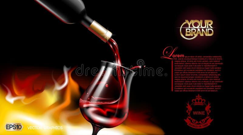 Copa de vino roja de colada realista del vector El logotipo hace publicidad de ascendente falso Fondo vibrante con el lugar para  ilustración del vector