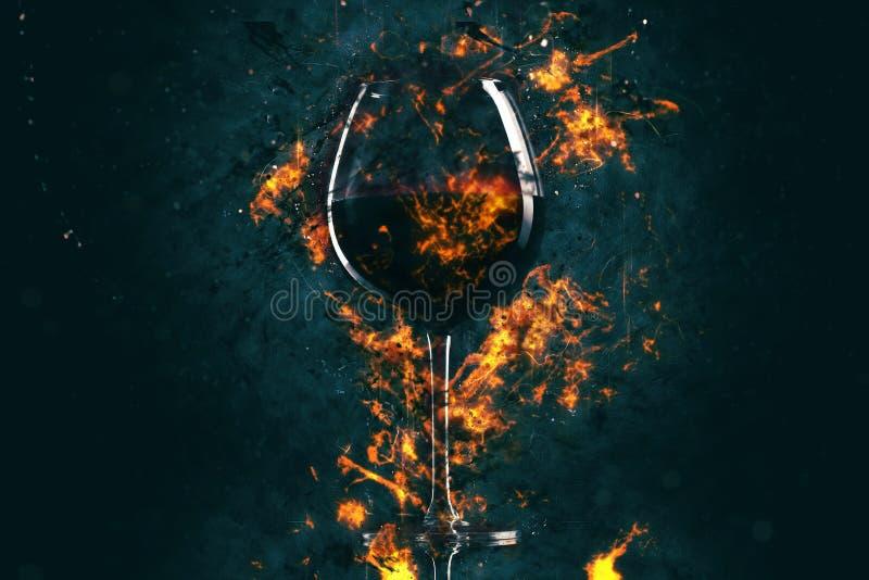 Copa de vino roja en fuego imagenes de archivo