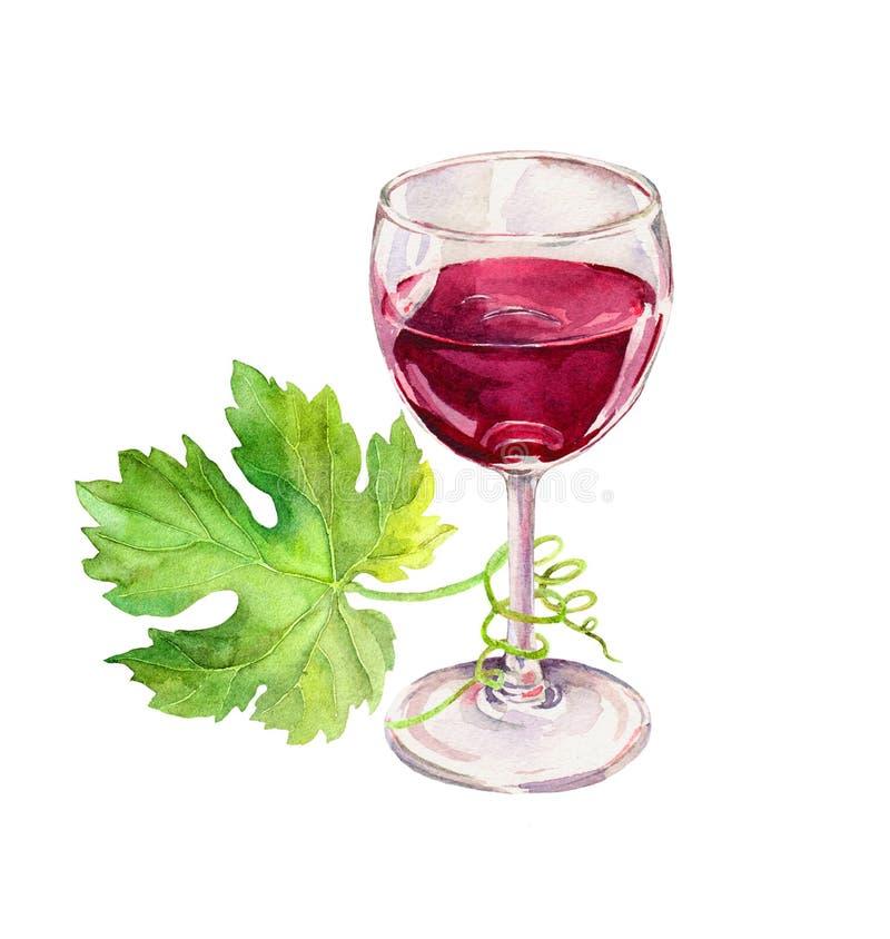 Copa de vino roja, hojas de la vid, voluta watercolor fotografía de archivo