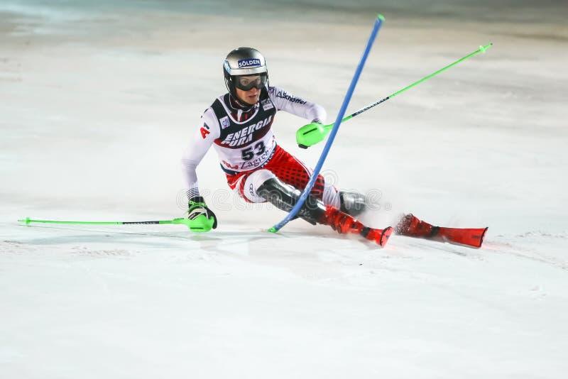 Copa Mundial de Esquí Audi Fis 2020 Mens Slalom Segunda carrera fotografía de archivo